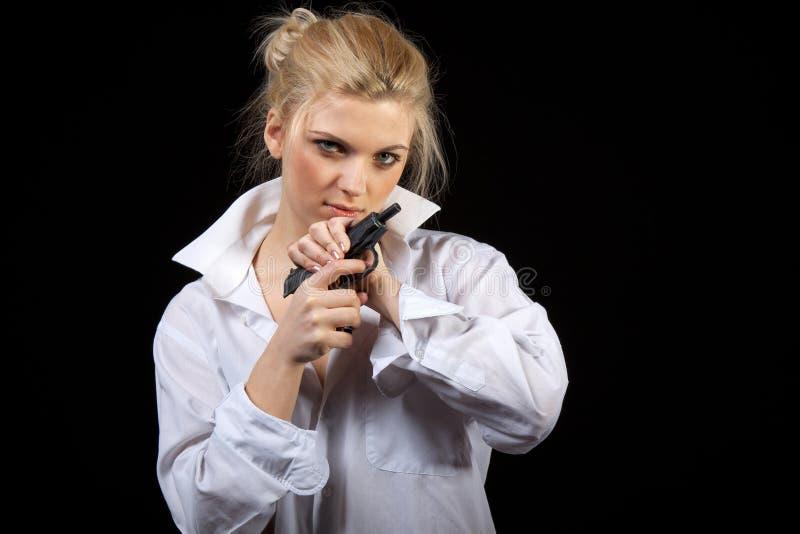 Geschäftsfrau mit Gewehr stockfotos