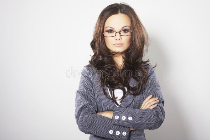 Geschäftsfrau mit Gläsern stockfotos