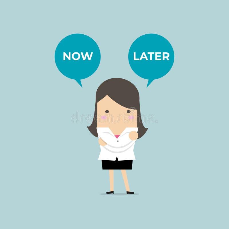 Geschäftsfrau mit jetzt oder neuerer Ballontext Ausgewählte Wahl der Geschäftsfrau jetzt oder später vektor abbildung