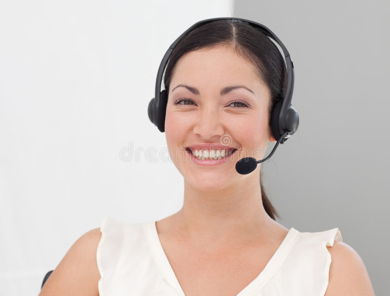 Download Geschäftsfrau Mit Kopfhörer Ein Stockbild - Bild von gesicht, freundlich: 9098723