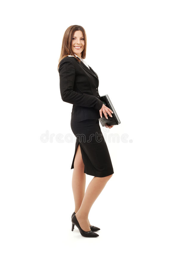 Geschäftsfrau mit Laptop-Computer lizenzfreies stockbild