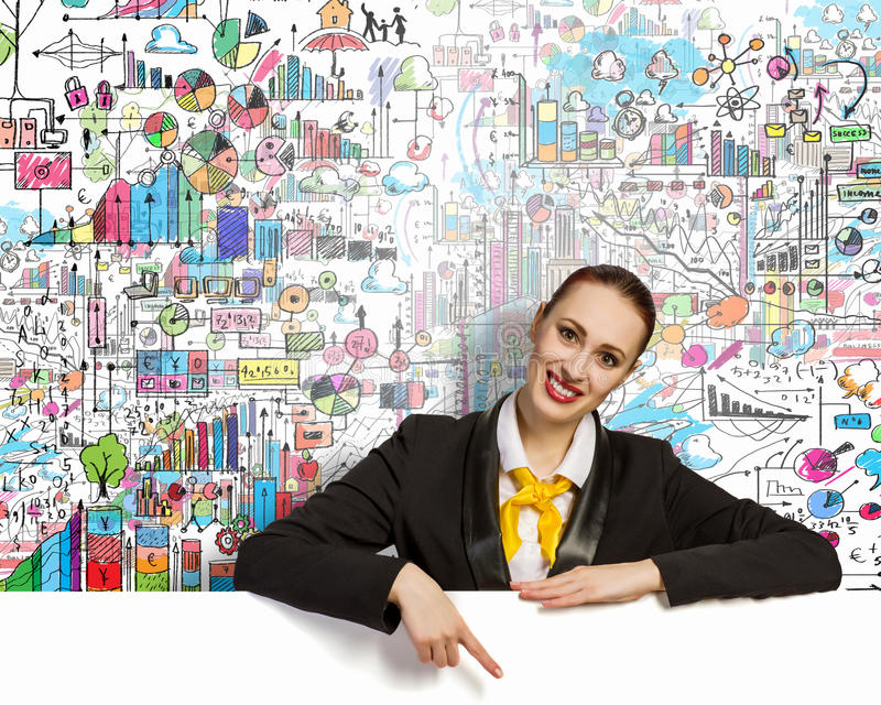 Geschäftsfrau mit leerer Fahne lizenzfreie stockfotografie