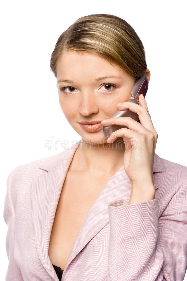 Geschäftsfrau mit Mobile lizenzfreies stockbild