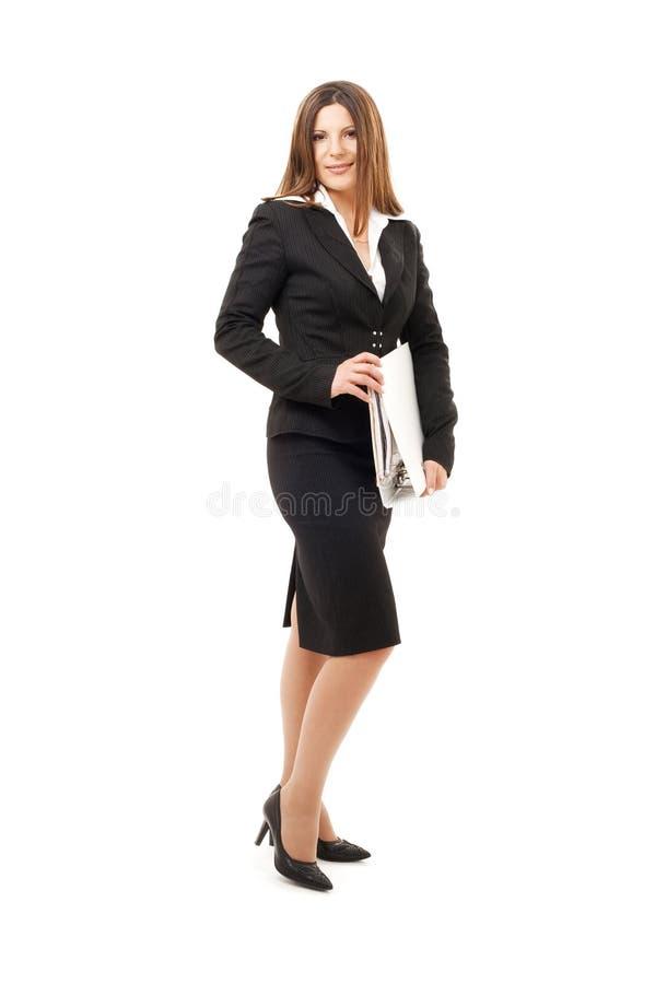 Geschäftsfrau mit Ordnern stockfoto