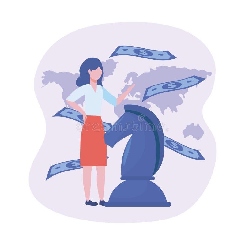 Geschäftsfrau mit Pferdeschach und Rechnungen mit globaler Karte lizenzfreie abbildung