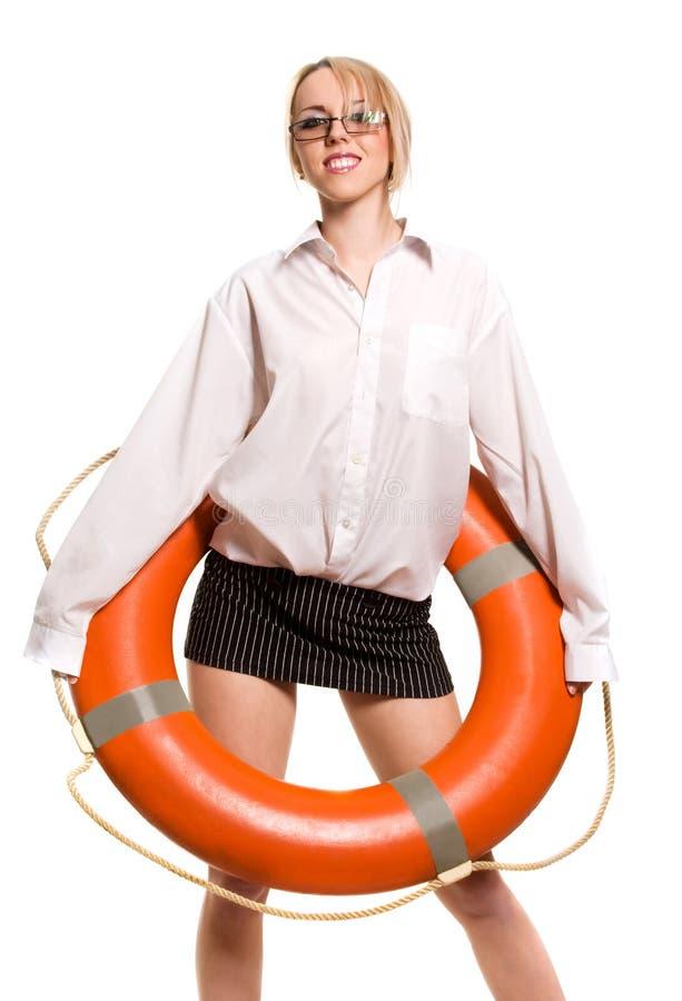 Geschäftsfrau mit roter Lebenboje stockbilder