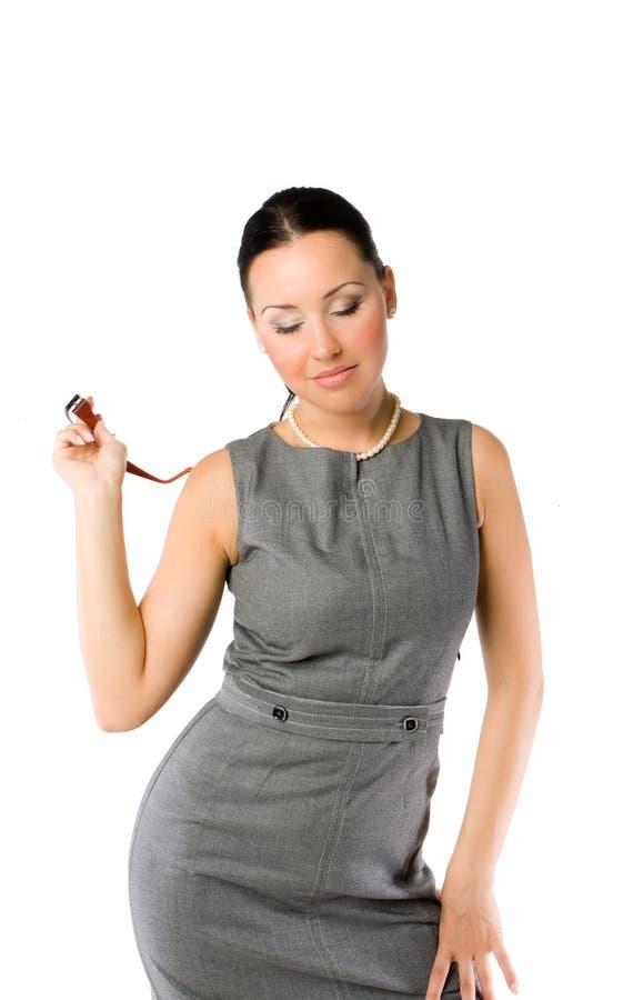 Geschäftsfrau mit Schauspielen stockfotografie
