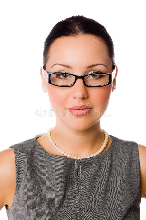 Geschäftsfrau mit Schauspielen stockfotos