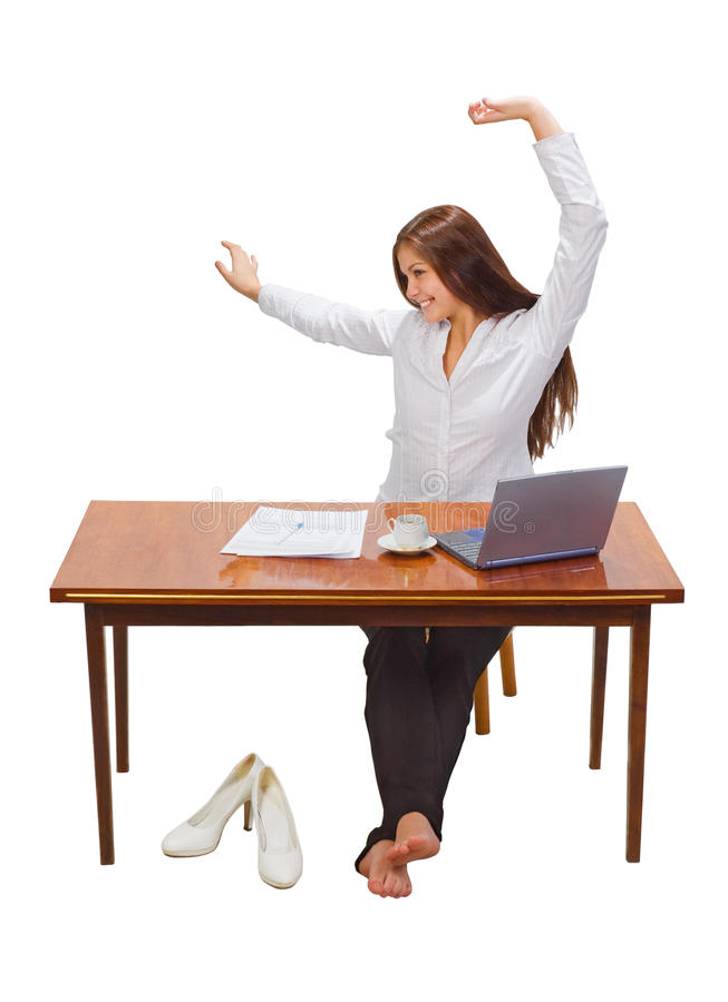 Geschäftsfrau mit Schutzkappe des Kaffees und des Laptops stockfotografie