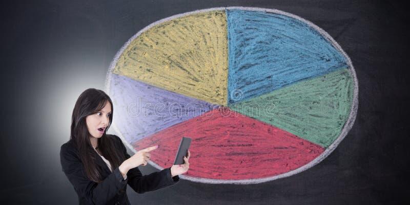 Geschäftsfrau mit Statistiken lizenzfreie stockfotos