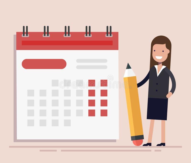 Geschäftsfrau mit Stift und Kalender Planung und Schedulings-Konzept Geschäftsoperationen Flaches Vektor illustraion stock abbildung