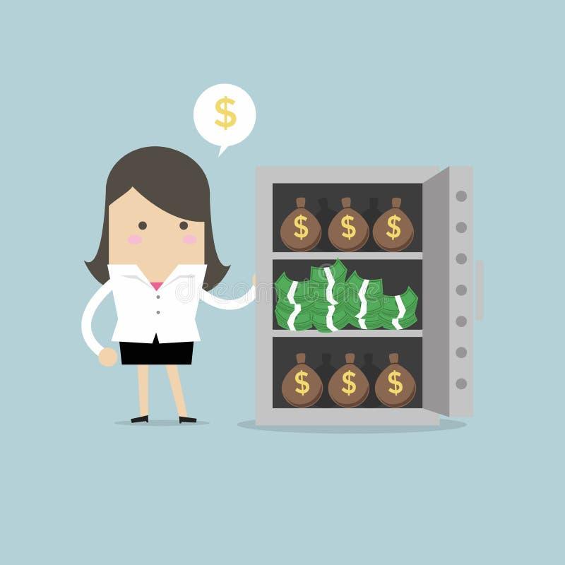 Geschäftsfrau mit vielem Geld bauscht sich und Stapel Dollar im Safe lizenzfreie abbildung