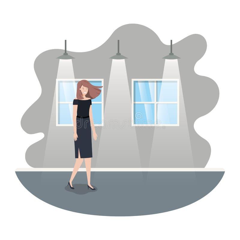 Geschäftsfrau mit Wand- und Fensteravataracharakter stock abbildung