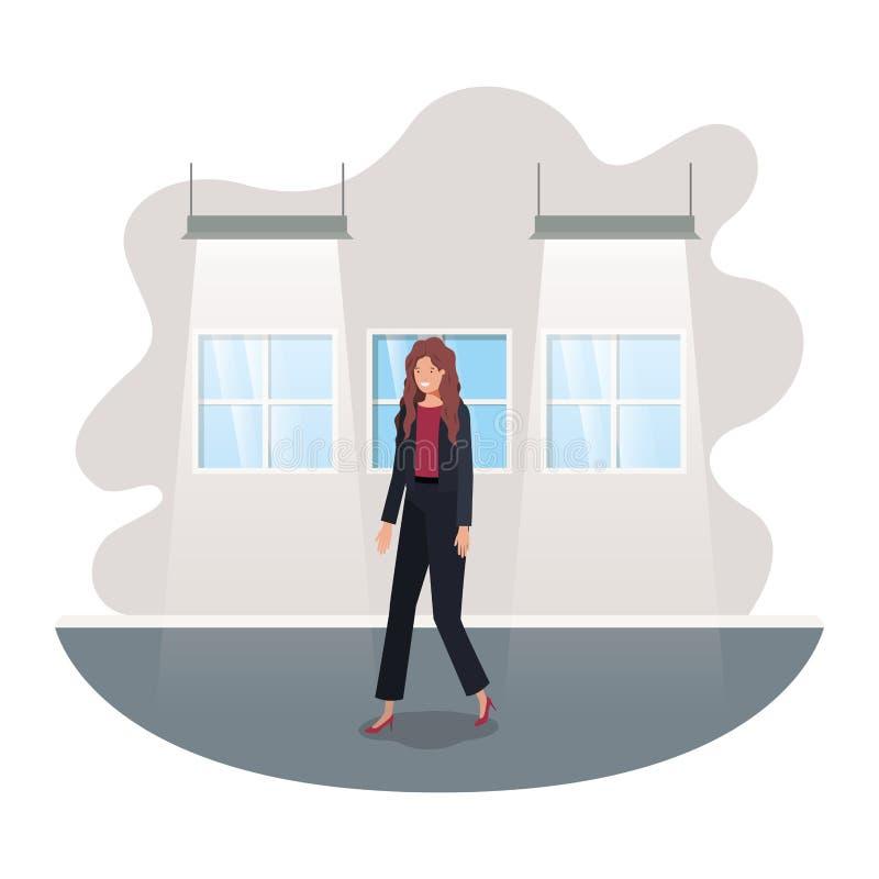 Geschäftsfrau mit Wand- und Fensteravataracharakter lizenzfreie abbildung
