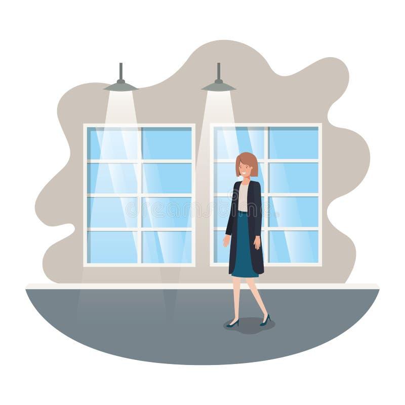 Geschäftsfrau mit Wand- und Fensteravataracharakter vektor abbildung