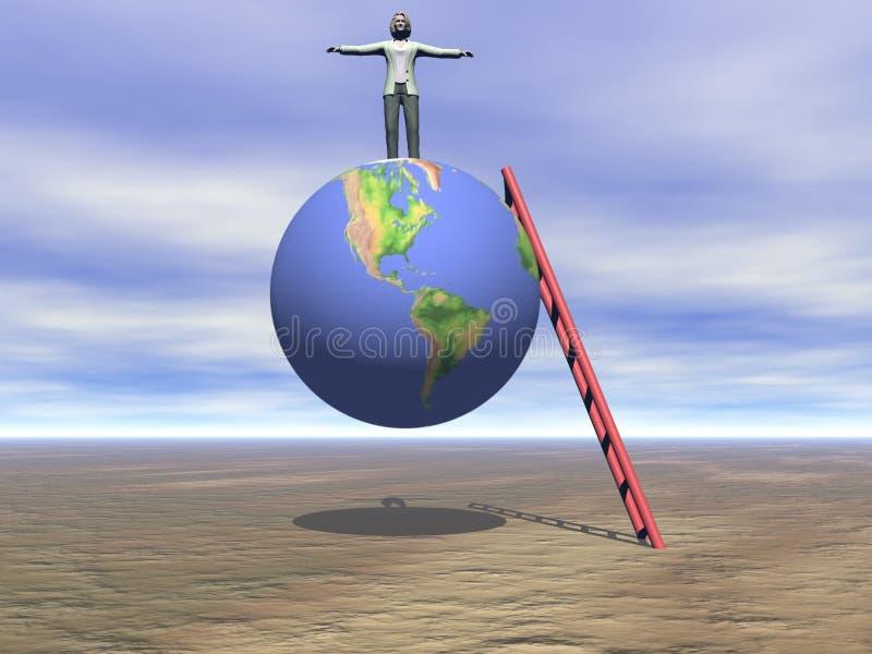 Geschäftsfrau oben auf die Welt lizenzfreie abbildung