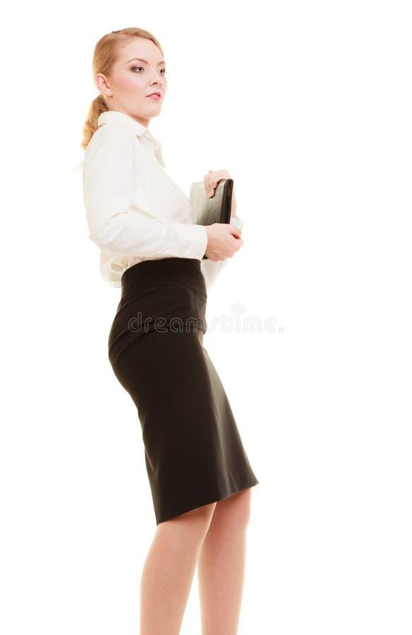 Geschäftsfrau- oder Lehrerfrau mit Aktenkoffer lizenzfreie stockbilder