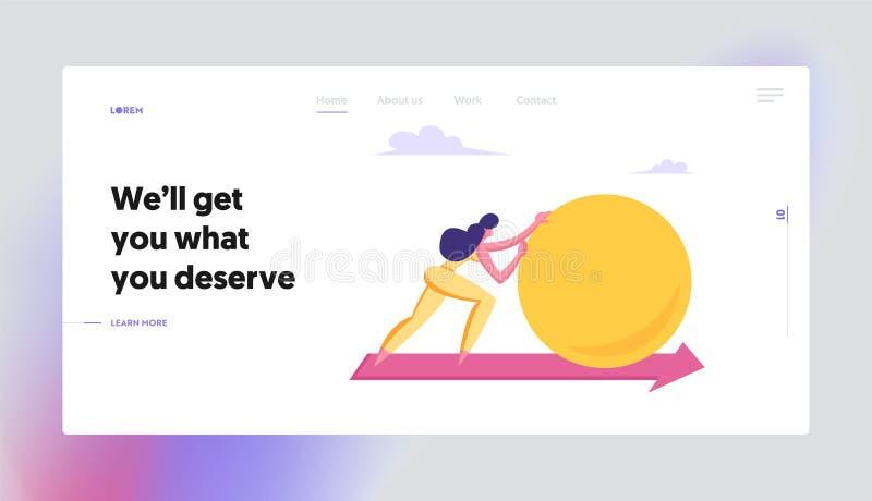 Geschäftsfrau Push Huge Circle oder Ball entlang Roter Pfeil auf dem Boden Frauenführerziel, Unternehmenswettbewerb vektor abbildung