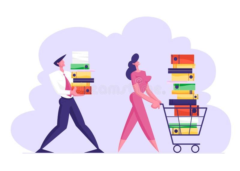 Geschäftsfrau Pushing Shopping Cart voll von der Dokumentation Geschäftsmann Carry Big Heap von Dokumenten-Ordnern lizenzfreie abbildung