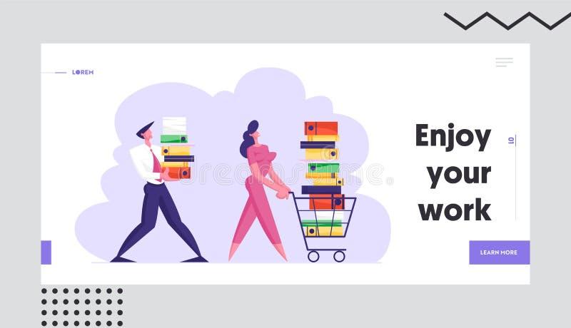 Geschäftsfrau Pushing Shopping Cart voll von der Dokumentation Geschäftsmann Carry Big Heap von Dokumenten-Ordnern, beschäftigtes lizenzfreie abbildung