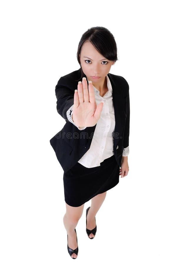 Geschäftsfrau sagen Nr. stockfoto
