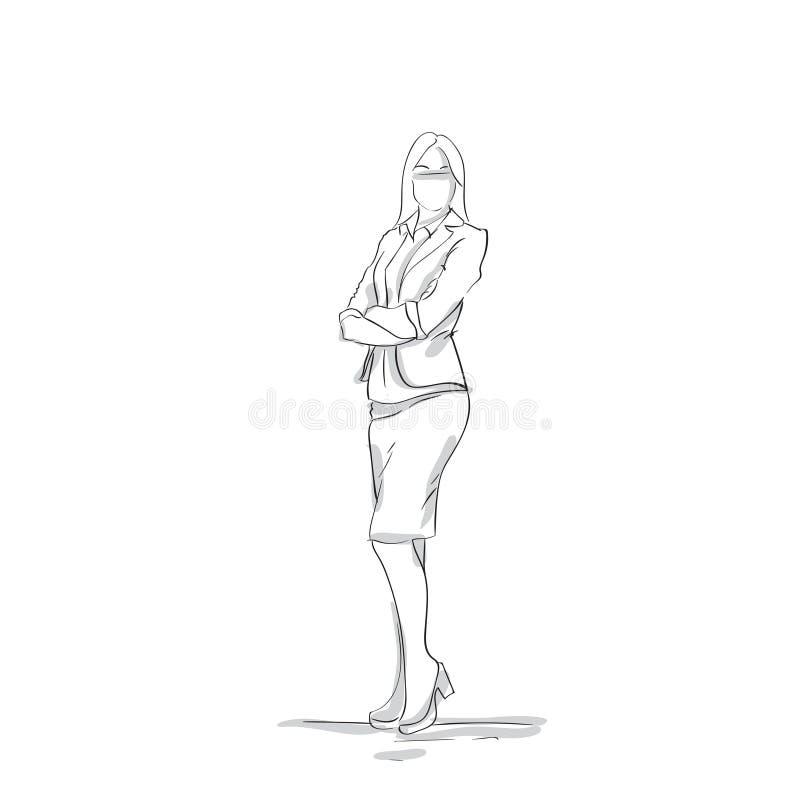 Geschäftsfrau-Schattenbild, das mit gefaltetem Arm-weiblichem Geschäftsfrau-Skecth On White-Hintergrund in voller Länge steht lizenzfreie abbildung