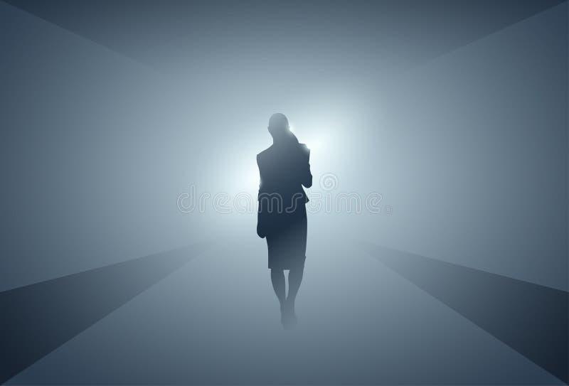Geschäftsfrau-Schattenbild, das Schritt nach vorn in voller Länge über Grey Light Background macht lizenzfreie abbildung