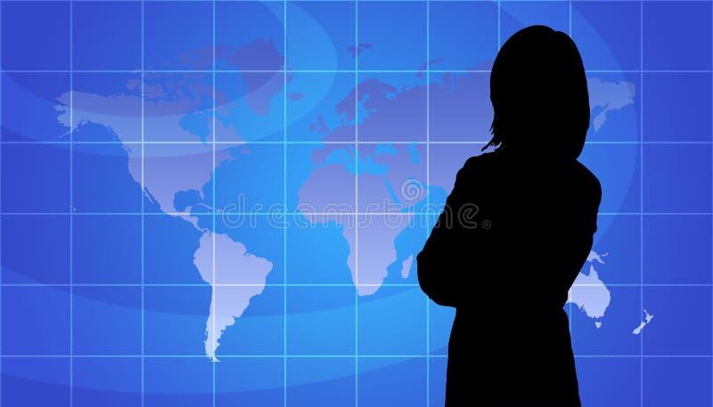 Geschäftsfrau-Schattenbild, Weltkarten-Hintergrund vektor abbildung