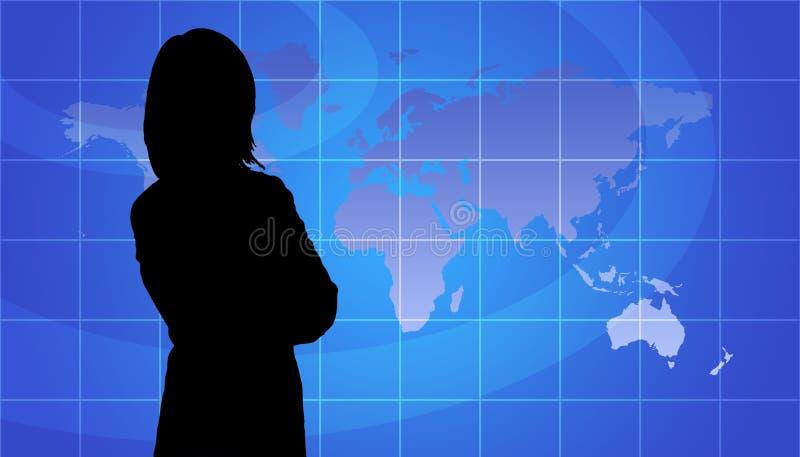 Geschäftsfrau-Schattenbild, Weltkarten-Hintergrund lizenzfreie abbildung
