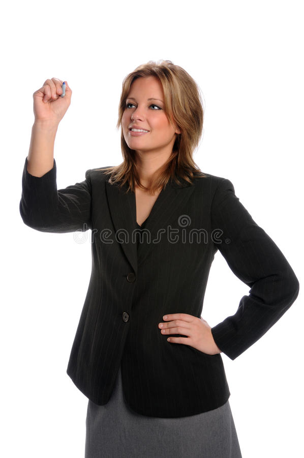Geschäftsfrau-Schreiben lizenzfreie stockbilder