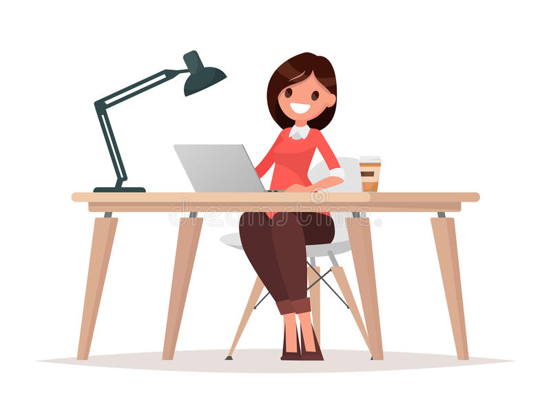 Geschäftsfrau am Schreibtisch arbeitet an der Laptop-Computer lizenzfreie abbildung