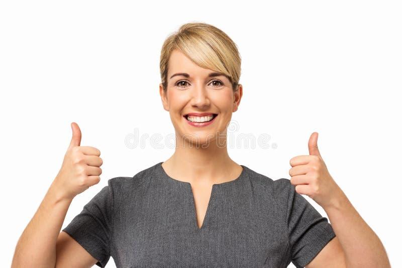 Geschäftsfrau-Showing Thumbs Up-Zeichen stockfoto
