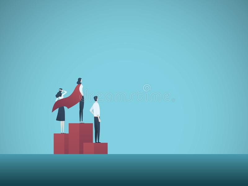 Geschäftsfrau-Siegervektorkonzept Geschäftsfrau mit Superheldkap auf Podiumende Symbol des Erfolgs, Leistung vektor abbildung