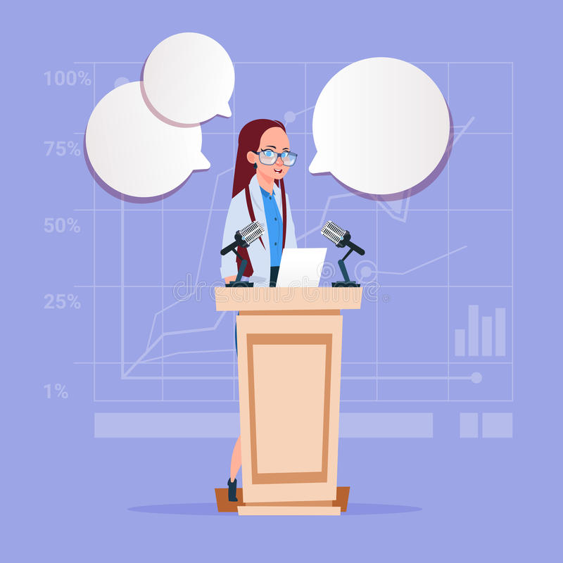 Geschäftsfrau-Sprecher-Bewerberallgemeines Sprache-Konferenz-Sitzungs-Geschäfts-Seminar lizenzfreie abbildung