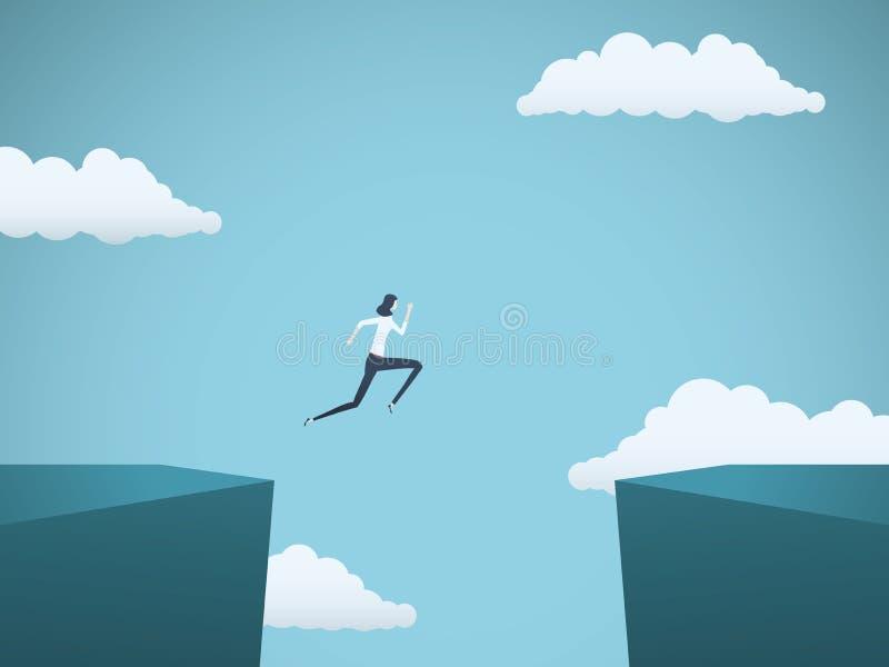 Geschäftsfrau springt über Abstandsvektorkonzept Symbol der Geschäftsherausforderung, Gelegenheit, Erfolg, Ehrgeiz und vektor abbildung