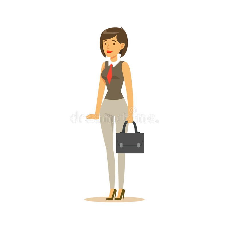 Geschäftsfrau With Suitcase, Geschäftslokal-Angestellter in der Amtstracht-Code-Kleidung beschäftigt an Arbeits-lächelnder Karika vektor abbildung
