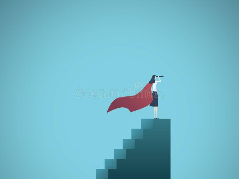 Geschäftsfrau-Superheldführer-Vektorkonzept Symbol der Führung, Erfolg, Ehrgeiz, Leistung, erfolgreiche Frau stock abbildung