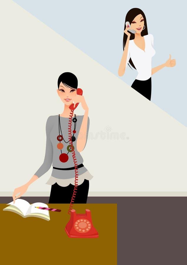 Geschäftsfrau am Telefon im Büro vektor abbildung