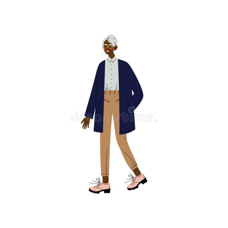 Geschäftsfrau-tragende Arbeitsausstattung, Büroangestellter, Unternehmer oder Manager Character Vector Illustration lizenzfreie abbildung