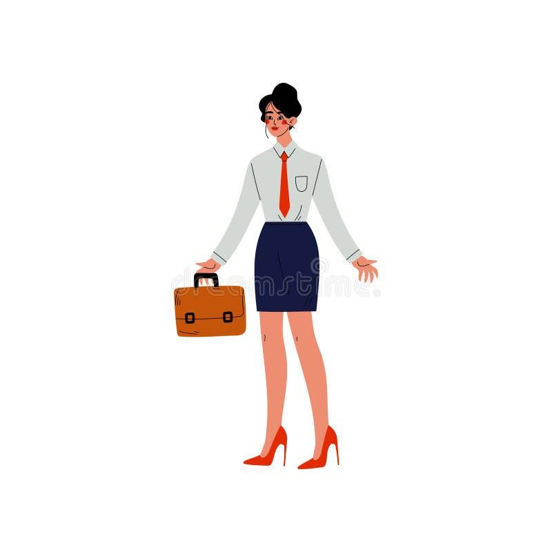 Geschäftsfrau-tragende Arbeitsausstattung, die mit Aktenkoffer, Büroangestelltem, Unternehmer oder Manager Character Vector steht stock abbildung