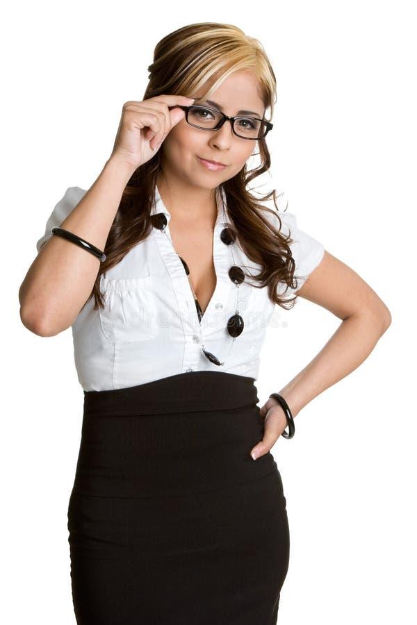 Geschäftsfrau-tragende Brillen stockbild