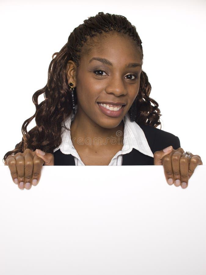 Geschäftsfrau - unbelegtes Zeichen lizenzfreie stockbilder