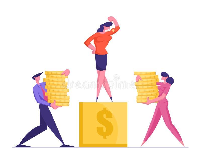Geschäftsfrau und Geschäftsfrau Carry Piles of Golden Coins to Pedestal mit Geschäftsfrau an der Spitze lizenzfreie abbildung