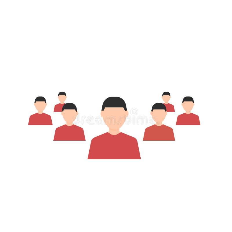 Geschäftsfrau und eine große Gruppe Geschäftsleute Mann Suche nach employe verstärkung Die goldene Taste oder Erreichen für den H stock abbildung