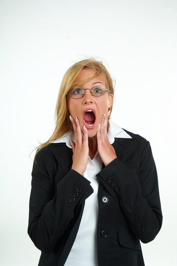 Geschäftsfrau und Furcht stockbilder