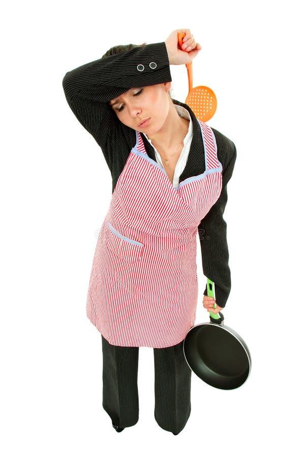 Geschäftsfrau und Hausfrau ermüdeten - Universalsuperfrau lizenzfreie stockfotografie