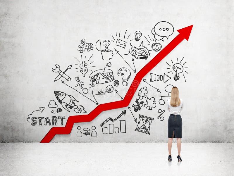 Geschäftsfrau und Karrierewachstum stockbild