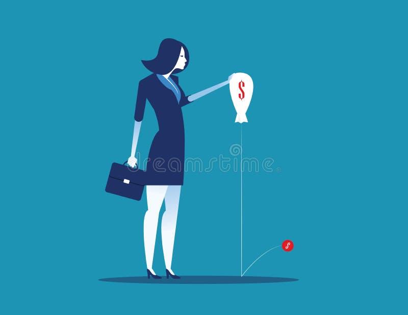 Geschäftsfrau und schlechte Wirtschaft Konzeptgesch?fts-Vektorillustration Flache Schriftart vektor abbildung