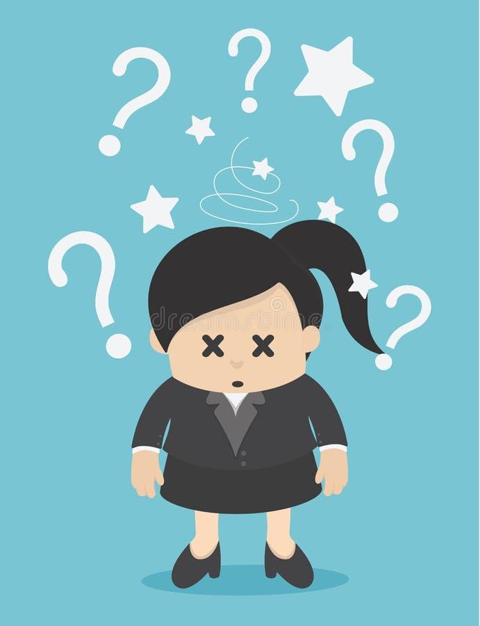 Geschäftsfrau verwechselt und mit vielen Fragezeichen markiert vektor abbildung