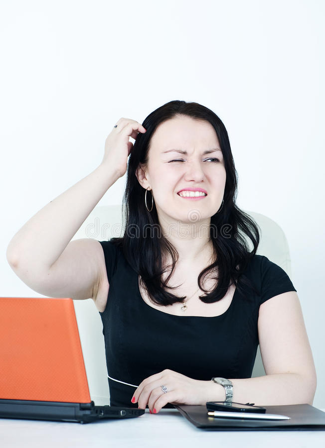 Geschäftsfrau verwirrt stockfotografie